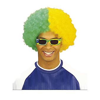 Two Tone Curly Wig - Green/Yellow