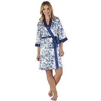 Slenderella GL2774 Women's Floral Satin Floral Robe Loungewear Bath Dressing Gown