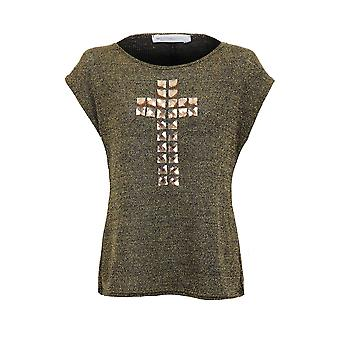Ladies Cross Diamond Beaded Shiny Grey Green Cap Sleeve Baggy Women's Top