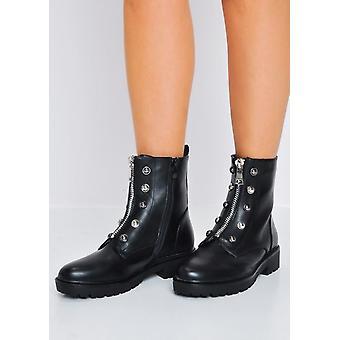 Cleated voorzijde metalen rits bestrijding Biker Ankle Boots zwart