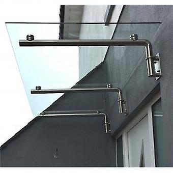 MonsterShop Glass Door Canopy & Brackets, 180cm W, 80cm D