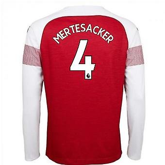 2018-2019 Arsenal Puma Home Long Sleeve Shirt (Mertesacker 4) - Kids