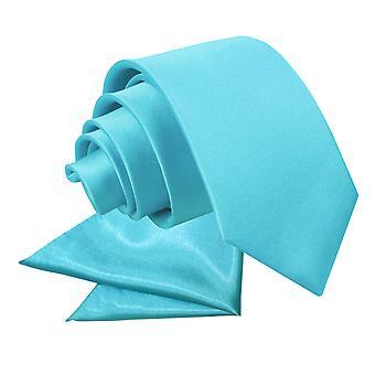 Robin's Egg blauw platte satijnen stropdas & zak plein Set voor jongens