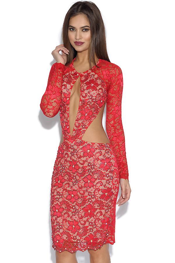 Robe en dentelle rouge Alina Holt