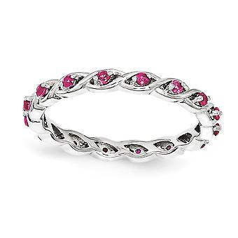 2.5mm Sterling Silver Polished Prong set Rhodium-plated Stackable Expressions Created Ruby Ring - Ring Size: 5 to 10