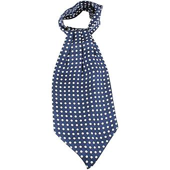 Knightsbridge Neckwear Polka Dot Silk Cravat - Blue/White