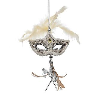 TRIXES Pack of 2 Venetian Masquerade Mask Hanging Christmas Tree Decoration Colour Gold
