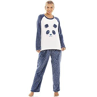 Camille Blue Supersoft Velour Fleece Panda Character Pyjama Set