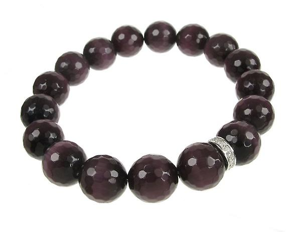 Cavendish French Sterling Silver and Purple Cats Eye Ball Bracelet
