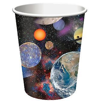 Weltraum Weltall Party Becher Pappe 266 ml 8 Stück Astronautenparty Kindergeburtstag Deko