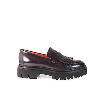 SANTONI BURGUNDY FRINGED MOCCASIN