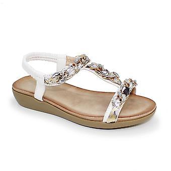 Lunar Cedar 'T' Bar Chain Sandal