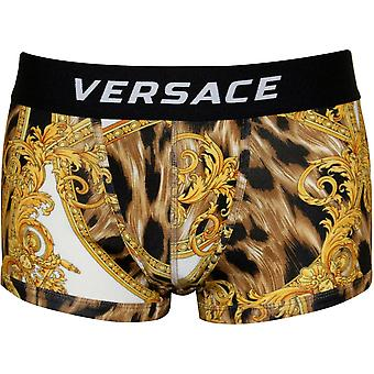 Versace Baroque Luxe Low-Rise Boxer Trunk, Gold/black
