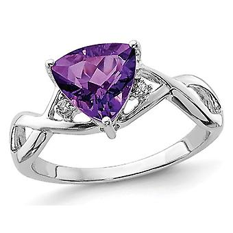 Ladies Solitaire Trillion Amethyst Ring 1.70 Carat (ctw) in Rhodium Plated Sterling Silver