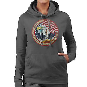 NASA STS 36 Atlantis Mission Badge Distressed Women's Hooded Sweatshirt