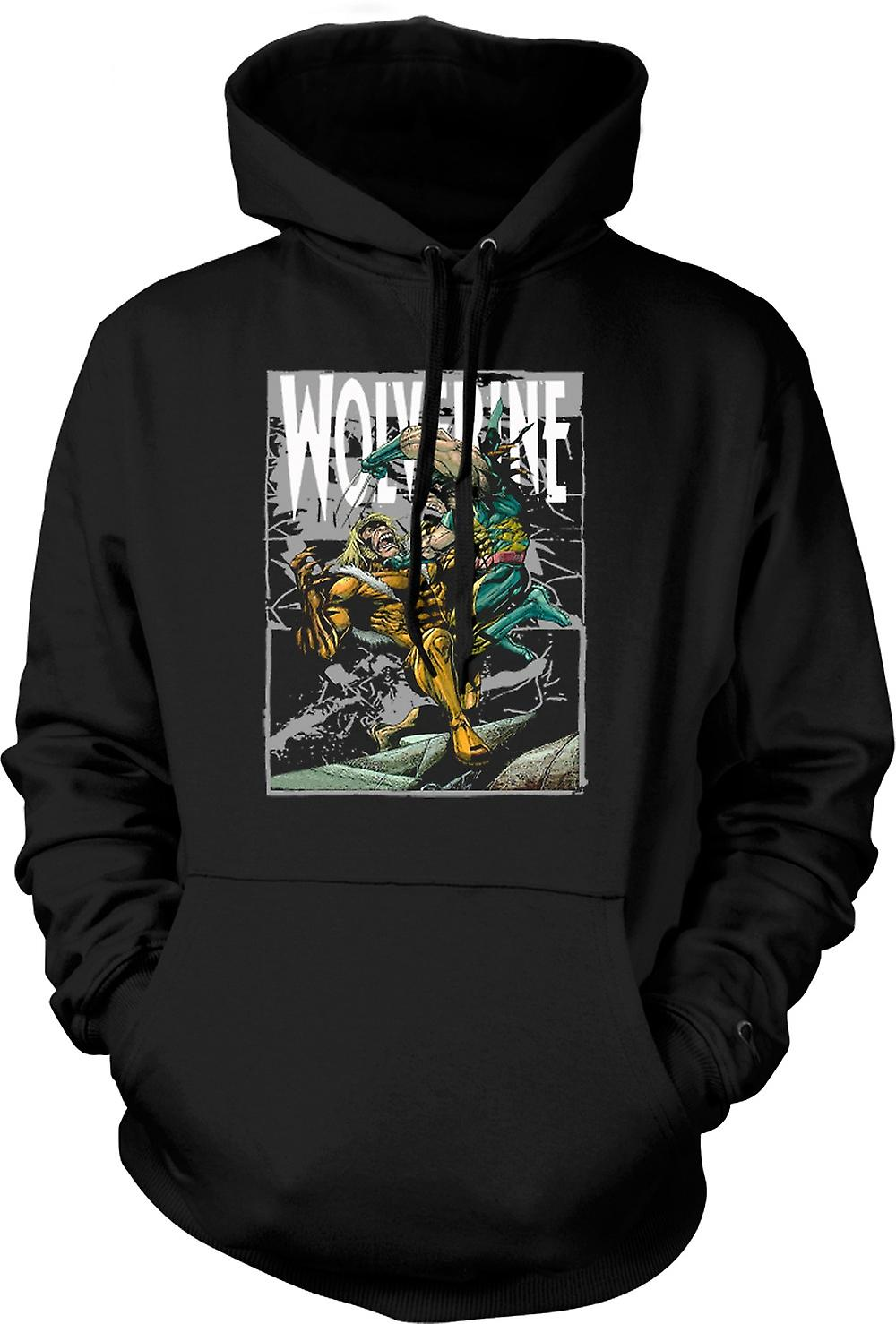 Mens Hoodie - Wolverine vs Victor - Cartoon
