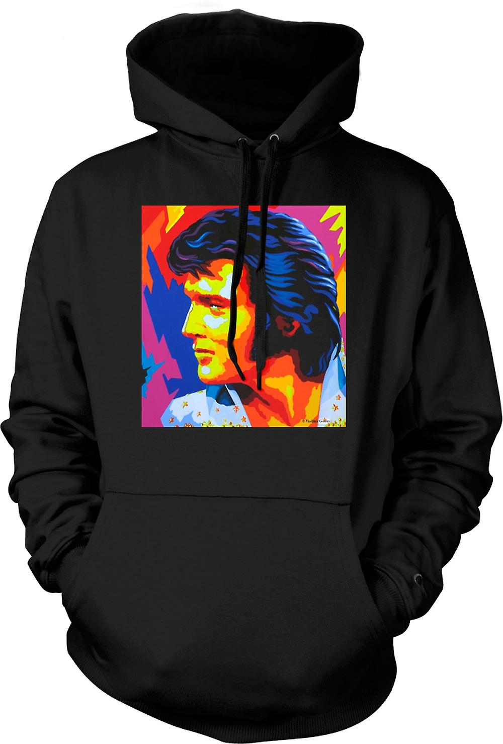 Mens Hoodie - Elvis Presley Colour - Pop Art