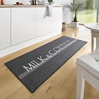 Design suede kitchen runner milk & coffee Grau Weiß 67 x 180 cm | 102394