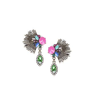 Lovemystyle Gold Oversized Earring With Multi Coloured Jewels