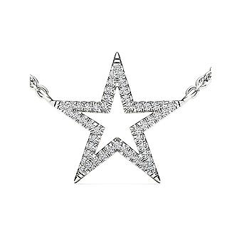 IGI Certified 10k White Gold 0.12 Ct Natural Diamond Star Pendant Necklace