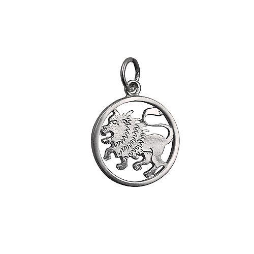 Silver 11mm pierced Leo Zodiac Pendant