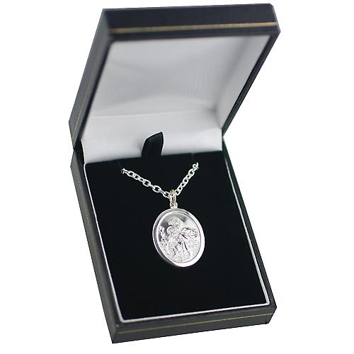 Silver 30x21mm oval St Christopher Pendant with a cable Chain 18 inches