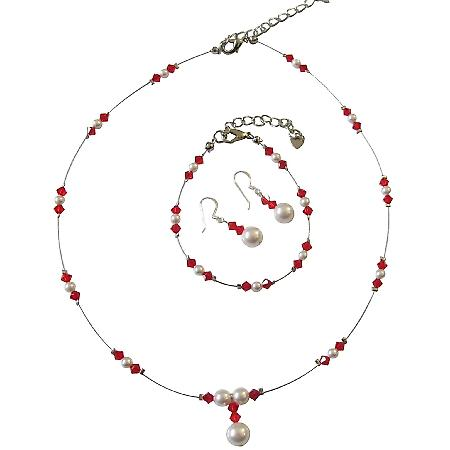 Red Crystals & White Pearls Illusion Bridal Complete Jewelry Set