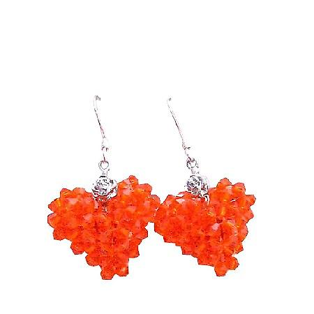 Very Sexy Orange Hycinth Swarovski Crystal Puffy Heart Love Earrings