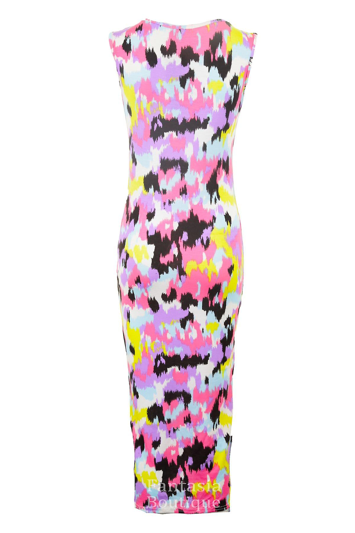 New Ladies Leopard Tiger Snake Multi Colour Midi Stretch Bodycon Women's Dress
