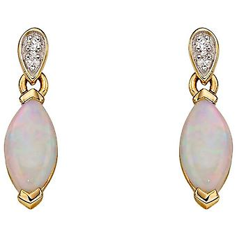 Elements Gold Diamond and Opal Earrings - Yellow Gold