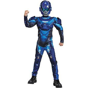 Blauwe Spartaanse Halo kostuum voor kinderen