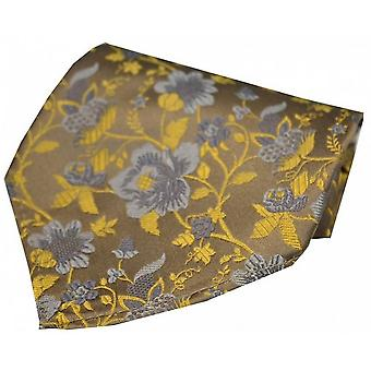 David Van Hagen Floral Pattern Silk Handkerchief - Camel/Gold