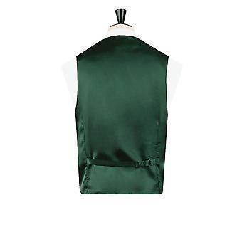 Dobell Mens Racing Green Waistcoat Regular Fit Dupion 5 Button