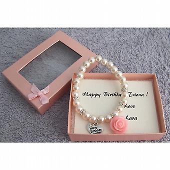 Happy Birthday Bracelet Blush Pink Pearl Bracelet