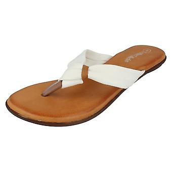 Ladies Leather Collection Sandals F0930 White Size 5