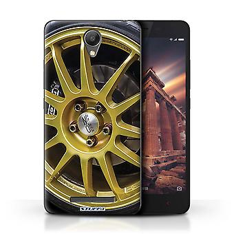 STUFF4 Case/Cover for Xiaomi Redmi Note 2 (Prime)/Gold/Black/Alloy Wheels
