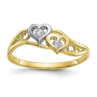 10k Yellow Gold Solid Textured Polished and Rhodium Double Heart Cubic Zirconia Ring