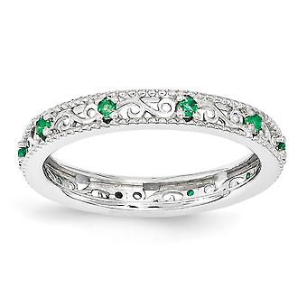 3mm 925 Sterling Silver Polished Prong set Rhodium-plated Stackable Expressions Created Emerald Ring - Ring Size: 5 to 1