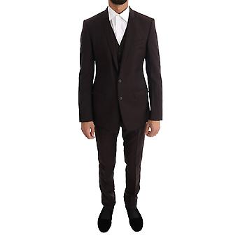 Brown Striped Gold Slim Fit 3 Piece Suit