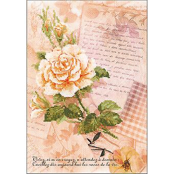 Love Letters Rose Counted Cross Stitch Kit-8.25