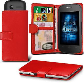 ONX3 Alcatel Pixi 3 (4) läder Universal våren Clamp plånbok i mål med kortinnehavaren Slot och sedlar Pocket-röd