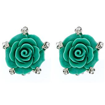 Clip On Earrings Store Acrylic Jade Green Rose Flower Clip On Earrings