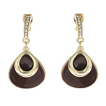 Clip On Earrings Store Brown Enamel  and  Gold Tear Drop Clip On Earrings