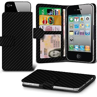 ( Black Carbon +Earphones) Case For BT Home Smart Phone S2 II Carbon Holdit Adjustable Wallet BT Home Smart Phone S2 II Cover By i-Tronixs