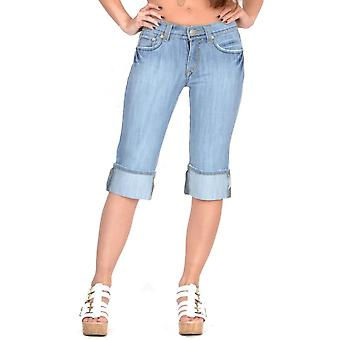 Long Faded Jean Denim Shorts