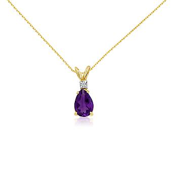 14k Yellow Gold 7X5 Amethyst Pear and Diamond Pendant with 18