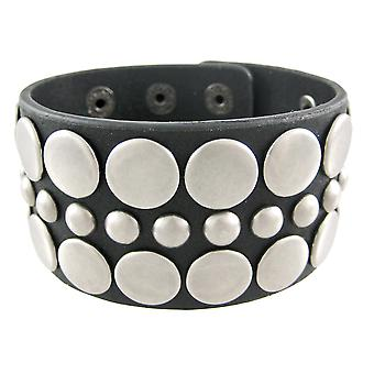 Black Distressed Leather Wristband W/ Antiqued Flat Studs