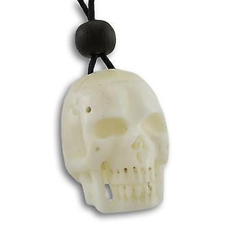 Collana di osso intagliato cranio cursore regolabile del cavo
