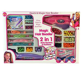 Magic Hair Beader 2 en 1 Filles Bijoux Maker bracelets et colliers de perles