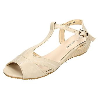 Ladies Anne Michelle T-Bar Ankle Strap Low Wedge Sandals